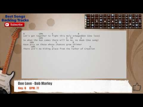 One Love - Bob Marley Guitar Backing Track with chords and lyrics