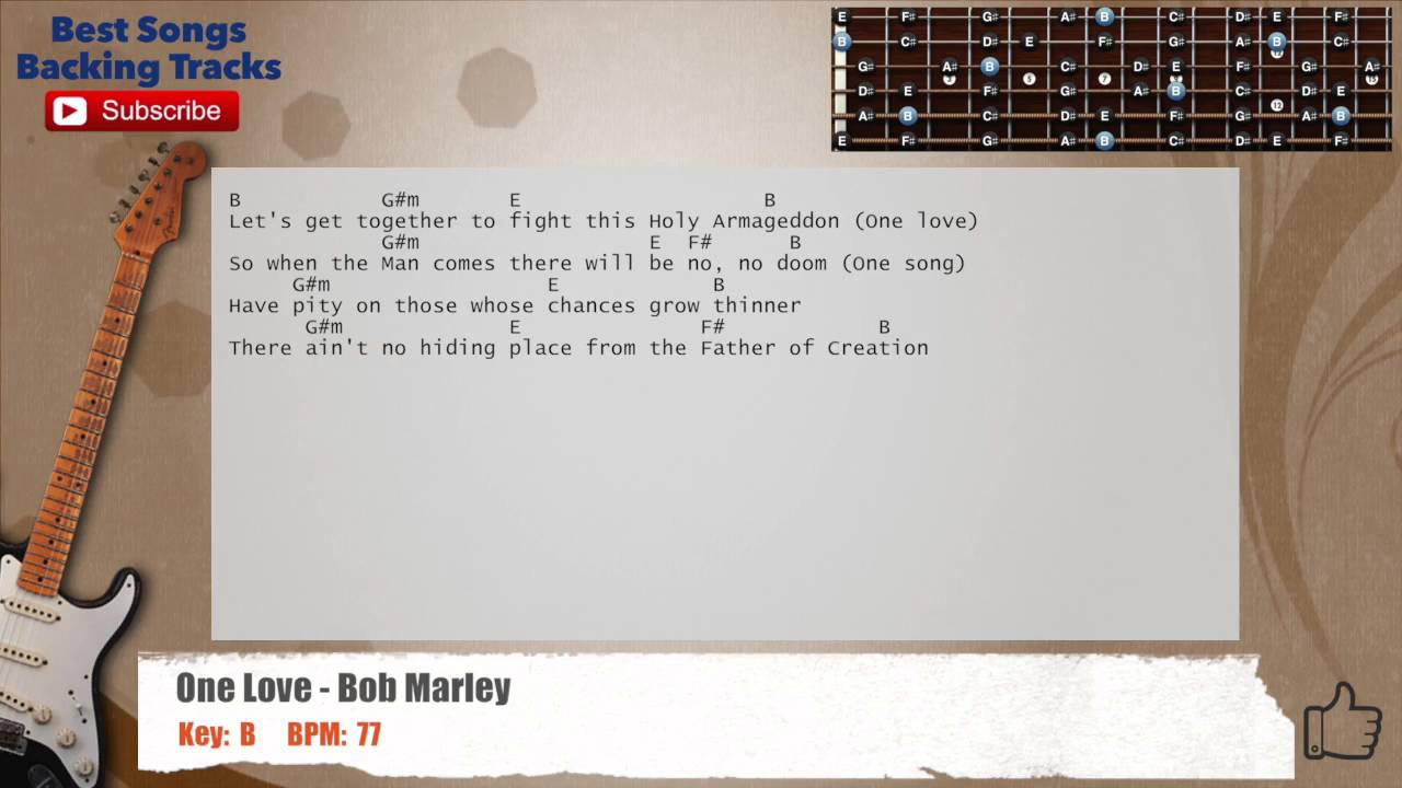 One Love Bob Marley Guitar Backing Track With Chords And Lyrics