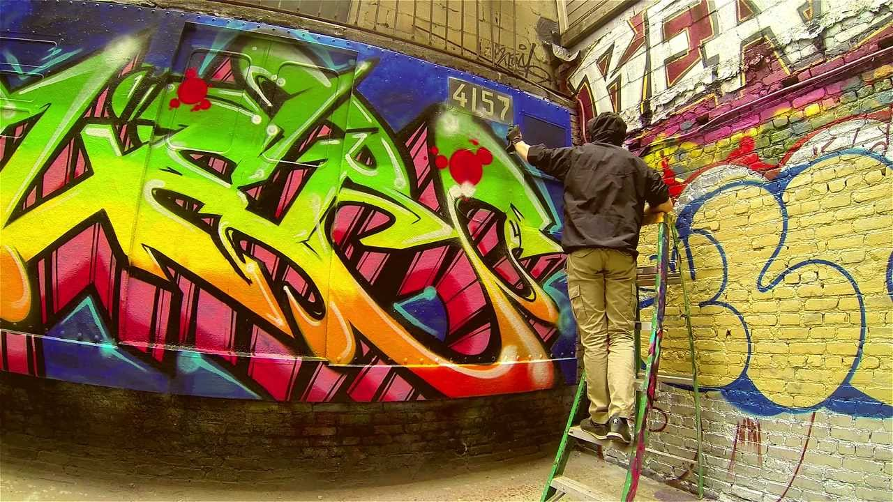 "New York Graffiti | Tuff City Manhattan | Graffiti Power | Painting the ""train"""
