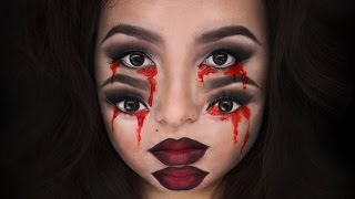This Bloody Trippy Double Vision Four Eyes Halloween Makeup Will Scare The Crap Out Of You