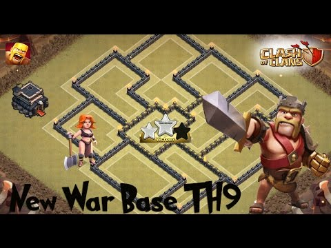 Clash of clans th9 war base anti 3 star anti hog anti valkyrie