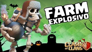 EXPLODINDO TUDO NO FARM CV8 COM AS TROPAS DO HALLOWEEN! | CLASH OF CLANS