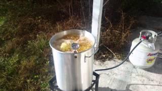 Deep frying a turkey in corn oil