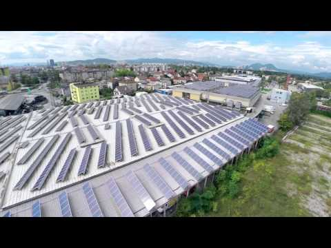 Ariel view of commercial solar panels