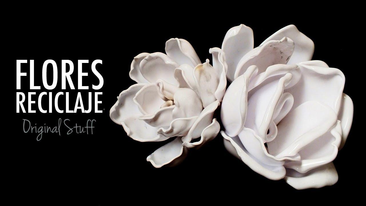 Flor de cucharas reciclaje original stuff youtube - Flores de plastico ...