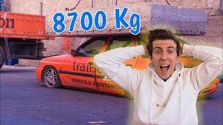 *APLASTO UN COCHE* CON UNA PIEDRA DE 8700KG