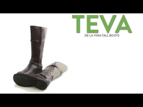 Teva De La Vina Tall Boots - Leather and Canvas, Full Zip (For Women)