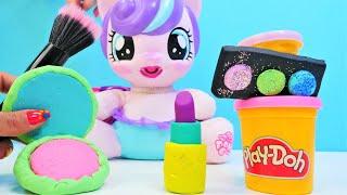 My Little Pony için Play doh oyun hamuru ile makyaj malzemesi. Hamur oyunları