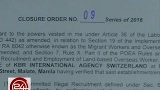 24 Oras: Agency na nagre-recruit umano ng mga OFW abroad kahit 'di lisensyado, ipinasara ng POEA