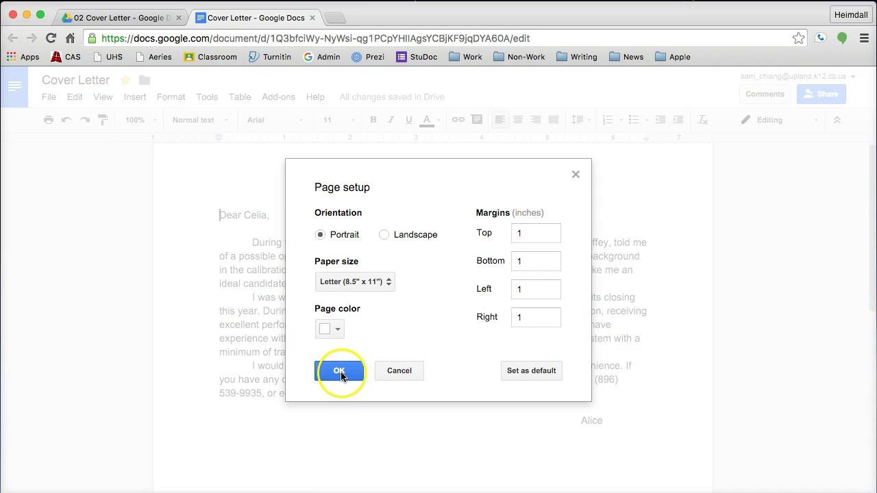 cover letter formatting