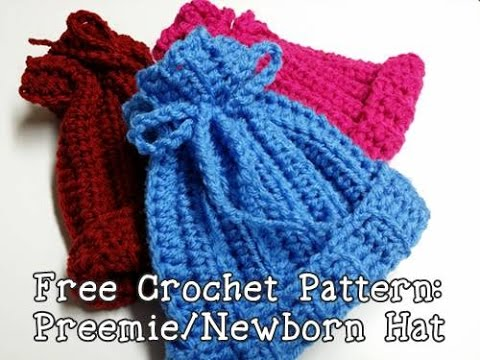 Free Easy Preemie Crochet Patterns : Crochet a Ribbed Newborn or Preemie Hat - YouTube