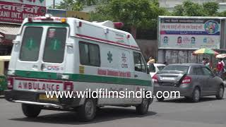 Safdarjung Hospital in New Delhi, with ambulances lined up outside, post second Covid wave