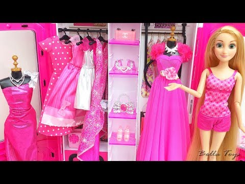 💜Barbie Rapunzel Elsa Frozen💜Princess dollhouse bedroom decor💜Doll clothes dresses fashion