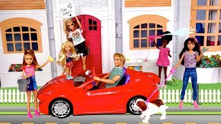 Barbie Chelsea Stacie New Chores Routine - Car Wash, Garage Sale Dog Walker