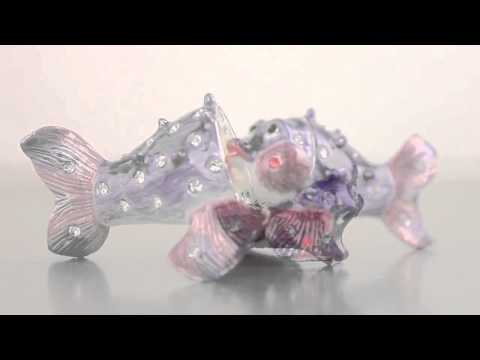 Puffer-Fish Faberge Style Trinket Box By Keren Kopal Swarovski Crystal
