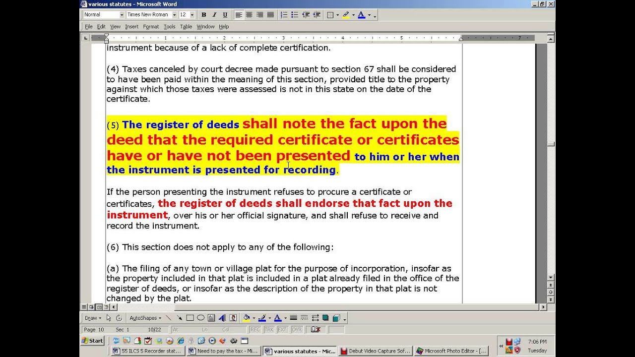 ABSTRACT OF Vs CERTIFICATE Title