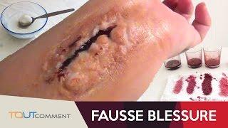 Fausse blessure sans latex et facile à faire (maquillage halloween)