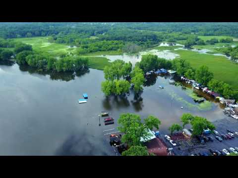 Aerial Video of Fox River Flooded over Rawson Bridge Road in Lake County