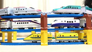 プラレール 電車 タワー ドクターイエロー はやぶさ こまち つばさ E2系 連結 南海ラピート 総武線 京成スカイライナー 成田エクスプレス おもちゃの動画