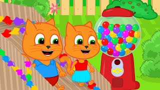 Cats Family in English  Attraction Repair With Gumball Machine Cartoon for Kids