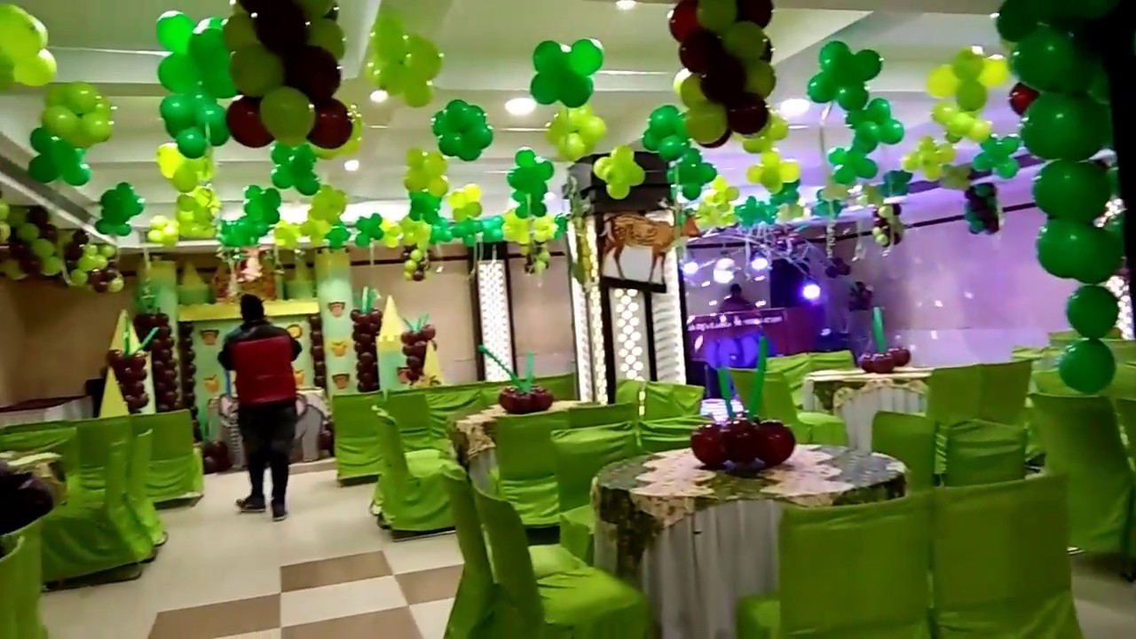 Jungle theme birthday party balloon decoration in for Balloon decoration ideas youtube
