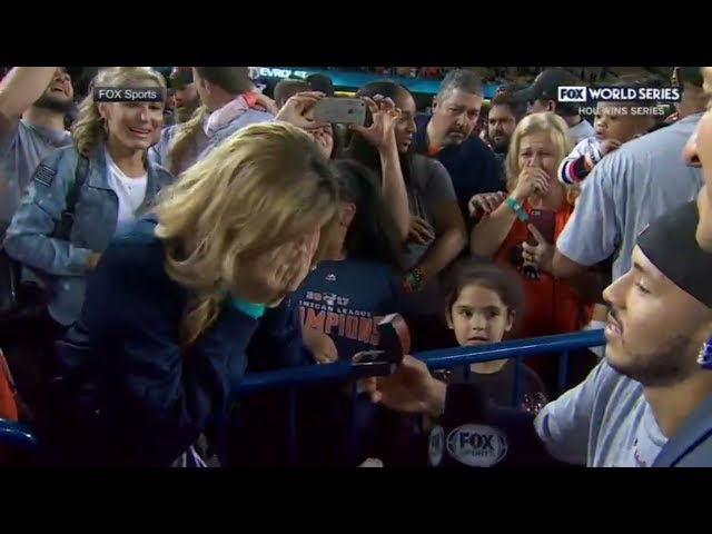 Carlos Correa proposes to his girlfriend after the Houston Astros win the World Series | ESPN