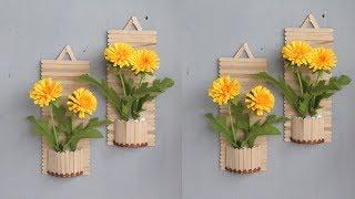 Popsicle Stick Crafts / Diy Wall Decor / Diy Hiasan Dinding Dari Stik Es Krim | Home Decor