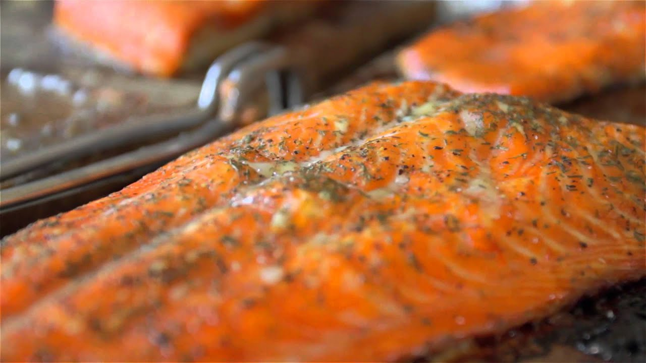 Cedar Plank Grilled Salmon Brushed With Bourbon And Maple Syrup