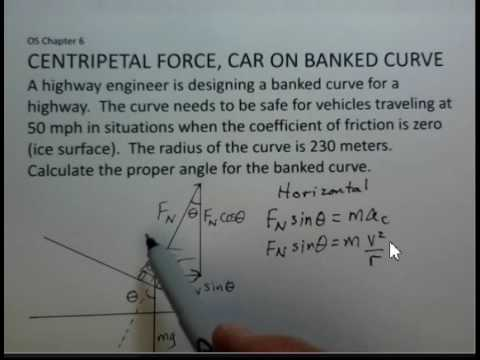 Centripetal Force, Find Angle for Banked Curve, No Friction