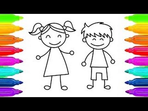 Como Desenhar Criancas Menina E Menino Aprender Colorir