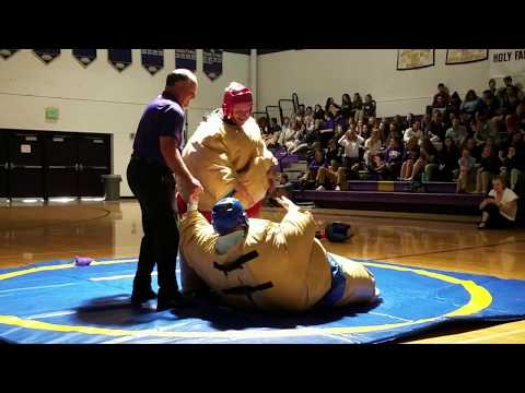 Holy Family High School vs. Bishop Machebeuf High School Sumo Wrestling Highlights