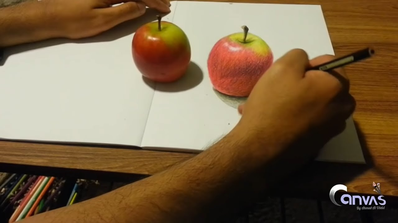 1 how to draw a 3d apple step by step with colored pencils youtube