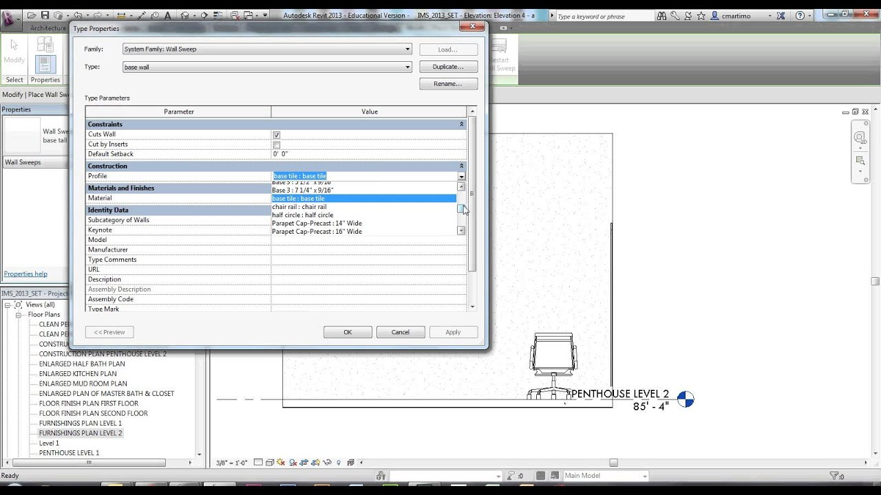 Wonderful Chair Rail Revit Part - 1: Wall Sweep Creating Wall Base And Crown Moulding In Revit - YouTube