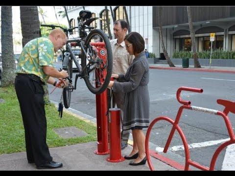 Hawaii's Creative Public Spaces - A Unique Bike Repair Station Downtown Honolulu
