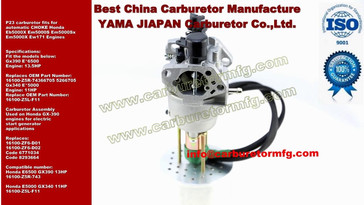 p23 carburetor fits for automatic choke honda eb5000x em5000s rh youtube com