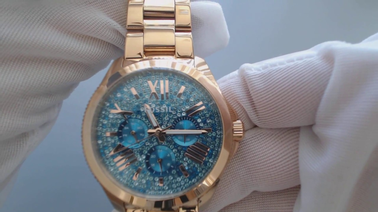 597fe120722e Women s Fossil Cecile AM4594 Rose Gold Crystallized Glitz watch - YouTube