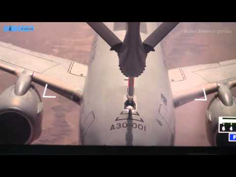 First KC-30A boom refuelling with an E-7A over Iraq