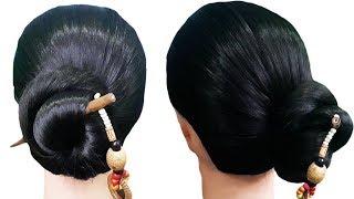easy and amazing juda hairstyle with bun stick || Chinese bun || Rajni Hairstyle