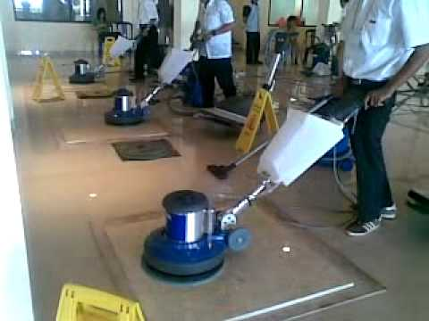 Marble Polishing Using Diamond Pads With Floor Polisher