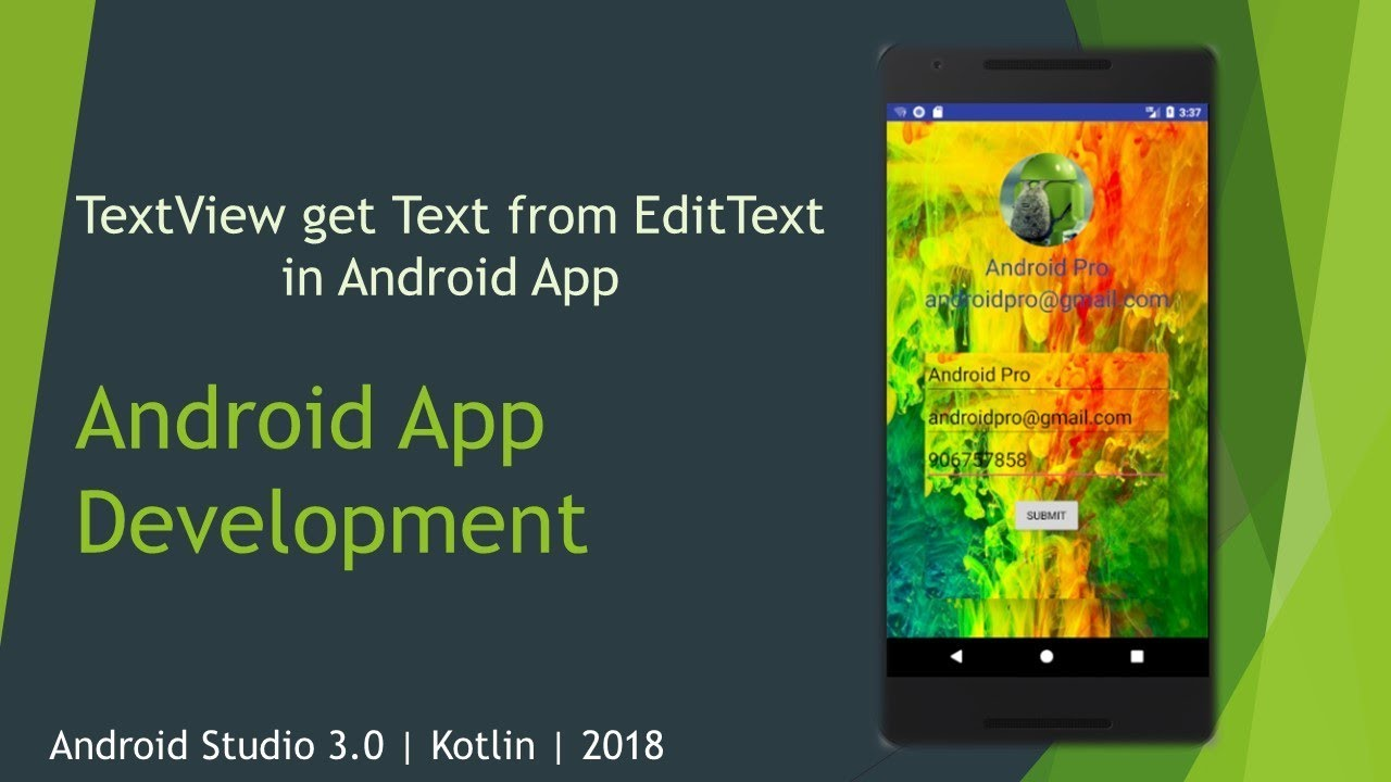 How TextView get Text from EditText | User Input | Kotlin | 2018