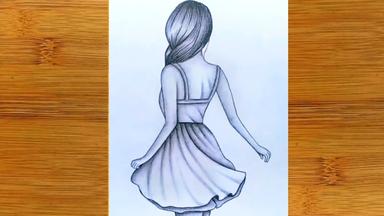 How To Draw A Girl With Back Side Pencil Sketch Tutorial Very Easy Step By Step Youtube
