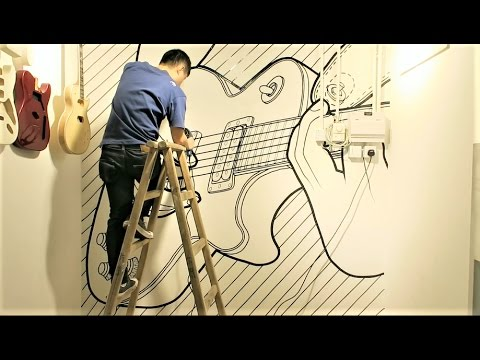 Tape art on the wall