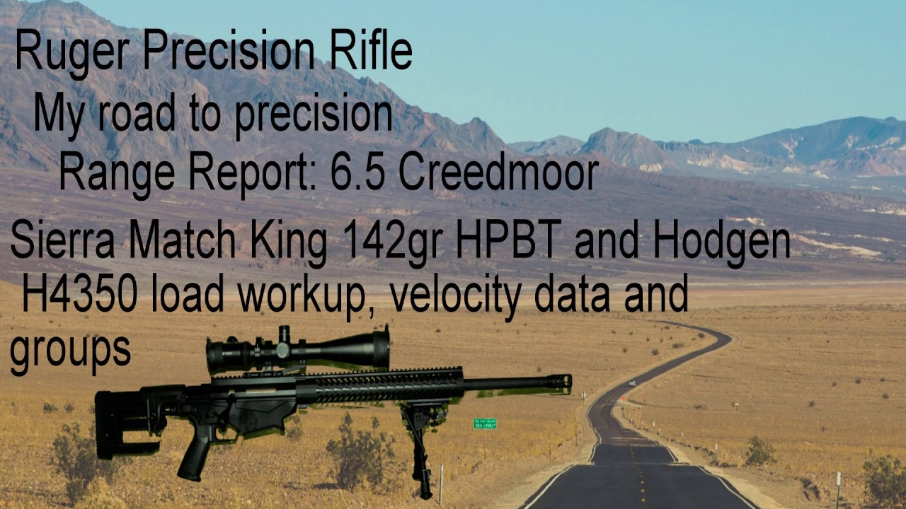142gr Sierra Match King with Hodgen H4350 in Ruger Precision Rifle 6 5  Creedmoor velocity group data