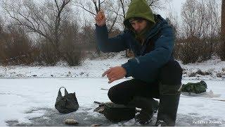 Рибалка. перший лід на річці Чулим, зимова риболовля, ловля окуня на блешню і балансир