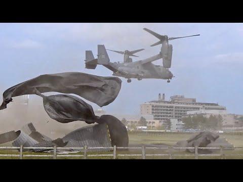 USAF Boeing/Bell CV-22B Osprey 10-0053 blowing up Addenbrooke's Hospital Helipad