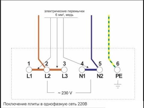 Однофазное подключение ЭЛЕКТРОПЛИТЫ  Electrolux EKC96450AW