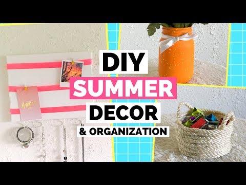 3 DIY Summer Room Decor & Organization Ideas | DIY Canvas Jewelry Organizer,  DIY Rope Basket & Jar