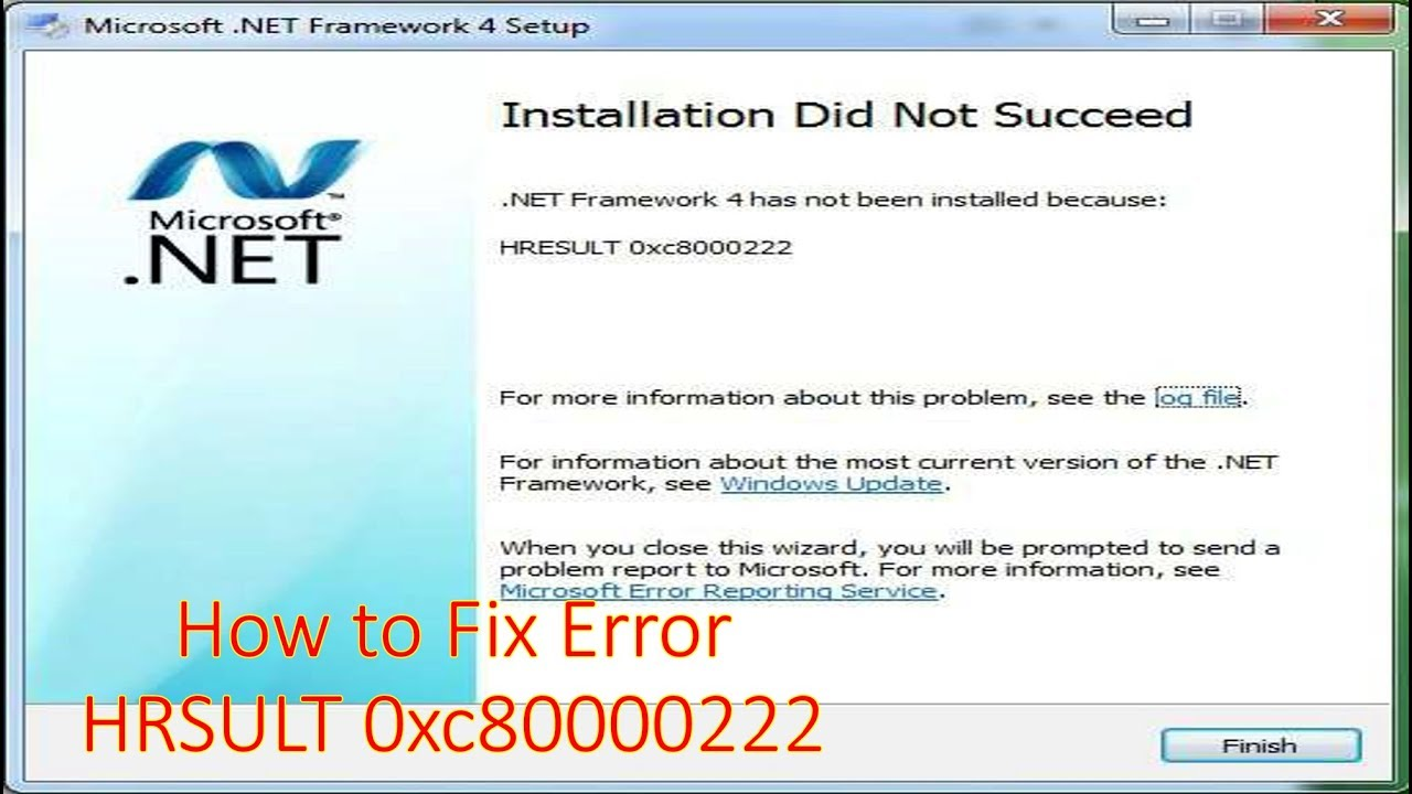 How to Fix HRESULT 0xc8000222 Error  NET Framework While Problem