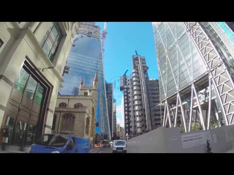 Driving Plate Rear View Car of Leadenhall Building and Lloyd's Building