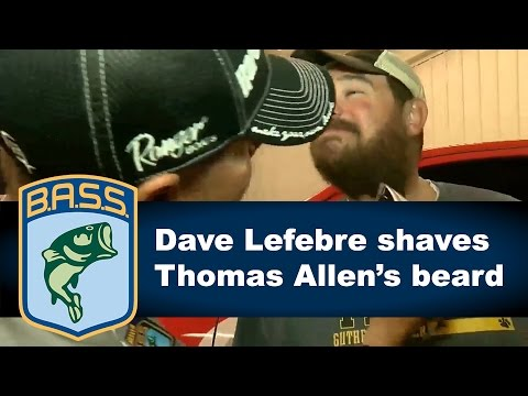 Dave Lefebre shaves Thomas Allen's beard after bet